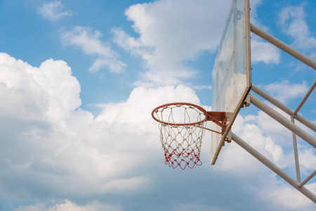 Basketball hoop on a blue sky