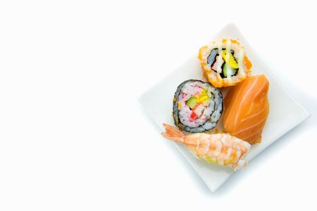plates of food: Seafood Maki sushi iisolated on white background