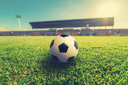 grandstand: Soccer on Green grass in soccer stadium. Stock Photo