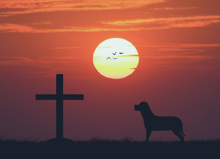 Silhouette of the cross with the sunset , vintage Stock Photo