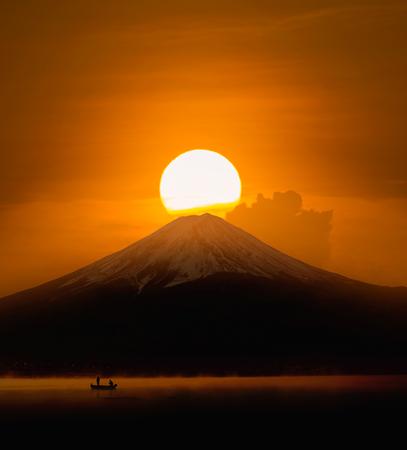 Silhouette of Mount Fuji at Lake kawaguchiko , Sunrise
