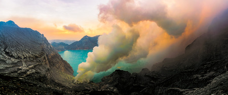 Sulfur fumes from the crater of Kawah Ijen Volcano, Indonesia. Kawah Ijen Volcano. The Ijen volcano complex is a group of stratovolcanoes in the Banyuwangi Regency of East Java, Indonesia.