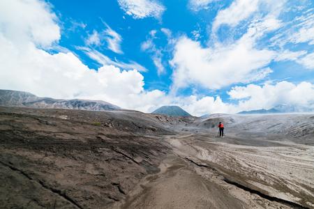 Man take photo Landscape Sky on the Mount Bromo, Bromo Tengger Semeru National Park,selective focus