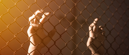 Hand holding on chain link fence. banner panoramic crop for copy space. Reklamní fotografie