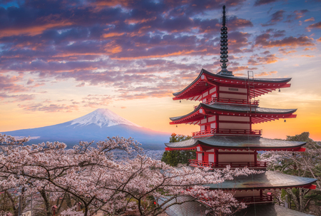 Mount Fujisan beautiful landscapes on sunset. Fujiyoshida, Japan at Chureito Pagoda and Mt. Fuji in the spring with cherry blossoms.