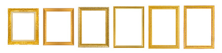 Set of 6 Gold frame for painting or picture on white background. isolated. Stock Photo