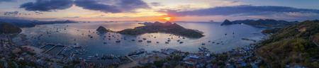 Aerial view : Labuan Bajo port in Flores, Indonesia on sunset