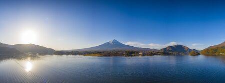 Aerial view panorama of mount Fuji in city at Kawaguchiko lake, Yamanashi, Japan. Fujisan on morning.