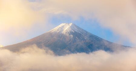 Mount Fuji in mist and clouds on morning at fujiyoshida, Yamanashi, Japan.