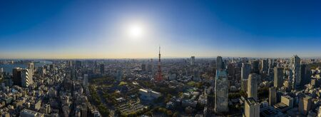 Aerial panorama view by drone of Tokyo Cityscape with Tokyo tower in Japan. 写真素材