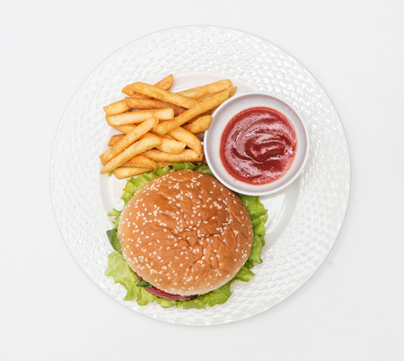 sause: dish with ries burger and sause on white background Stock Photo