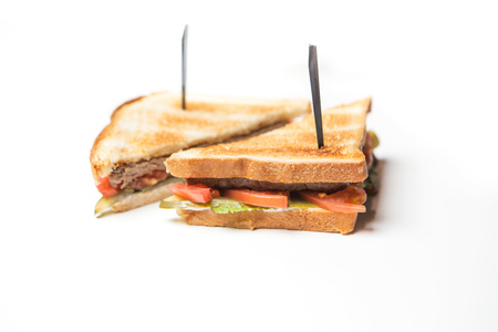 footplate: club sandwich with beef on white background