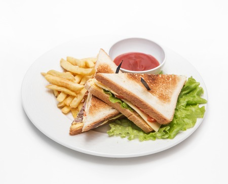 footplate: sandwich with fries and sause on white background