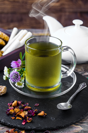 Tea on the old background