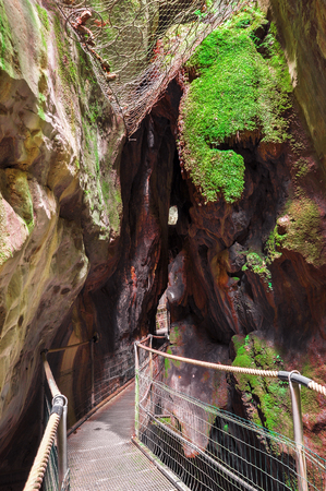 Gorge in the Pyrenees mountains.  Gorgues de la Fou. The pyrenees on the france spain border, between Spain and France. Pyrénées-Orientales. Family travel.