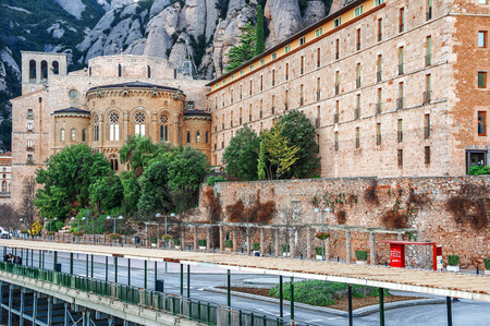 Spain. View of the Monastery of Montserrat in Catalonia, Barcelona.  Famous for the Virgin of Montserrat.