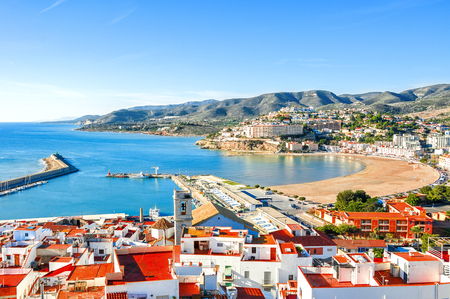 Spain. Valencia,  Peniscola. View of the sea from a height of Pope Lunas Castle.  Beautiful view of the sea and the bay. Mediterranean Sea. Fishing harbor