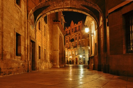 Spain. Valencia. Night cityscape in the historical streets.  Old town, narrow street at night. Mysterious alley with arch and with lanterns.