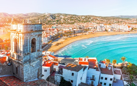 Spain. Valencia,  Peniscola. View of the sea from a height of Pope Lunas Castle. The medieval castle of the Knights Templar on the beach. Beautiful view of the sea and the bay. Mediterranean Sea.