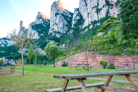 Spain. Catalonia. Road in Santa Maria de Montserrat Abbey. Picnic area and a viewing area on the mountain of Montserrat.