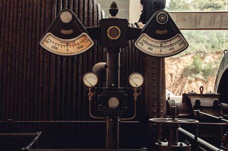 Retro industrial Voltmeter, Ammeter and Pressure measurement. Electric currents