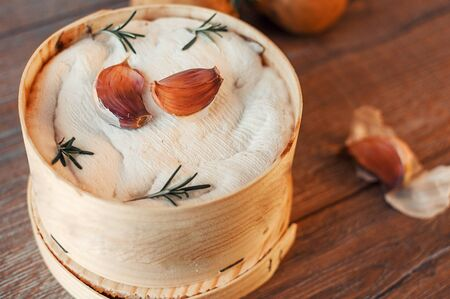 Mont d'or cheese. Traditional french authentic recipe - La boîte chaude. Delicious French Cheese.