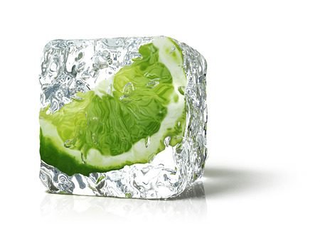 ice cube: lime in the ice cube Stock Photo