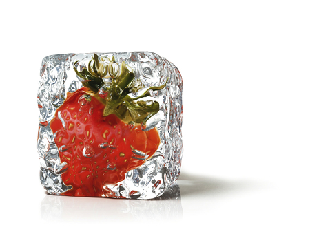 ice cube: strawberry in the ice cube Stock Photo