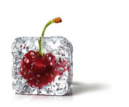 ice cube: cherry in the ice cube Stock Photo
