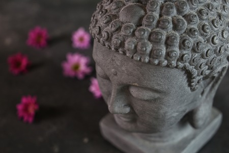 chaplain: Buddha head with flowers in the background Stock Photo