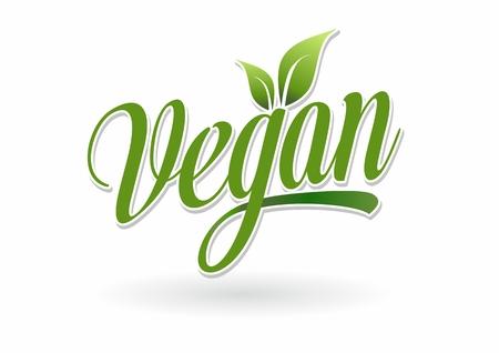 Vegan Logo fresh green leaf on a white background  イラスト・ベクター素材