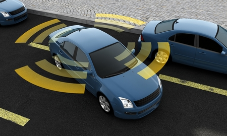 Autonomous cars on a road with visible connection