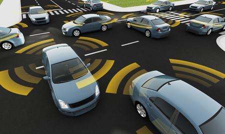 vehículo autónomo en una carretera con conexión visible
