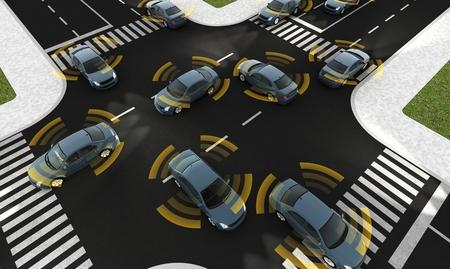 눈에 보이는 연결 도로에 자치 자동차