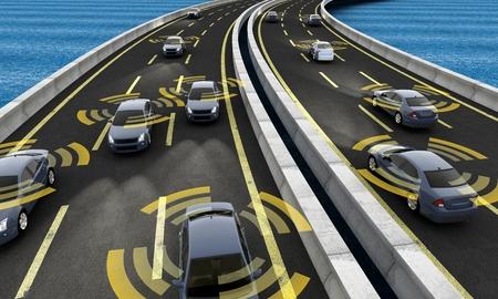 Autonomiczne samochody na drodze z widocznym połączeniem
