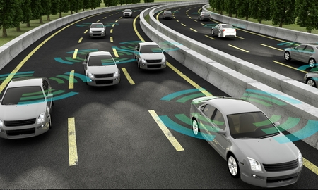 Autonomous cars on a road with visible connection Imagens - 64405483