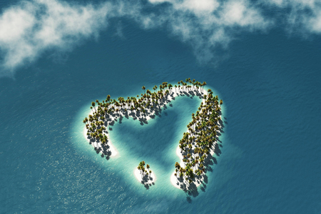 fish form: Maldivian island in the shape of heart