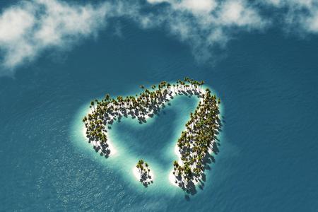 maldives island: Maldivian island in the shape of heart