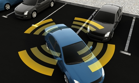 Autonomous cars on a road with visible connection, 3d rendering