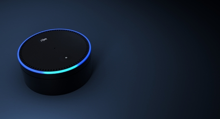 3D-weergave van Amazon Echo voice recognition systeem Stockfoto