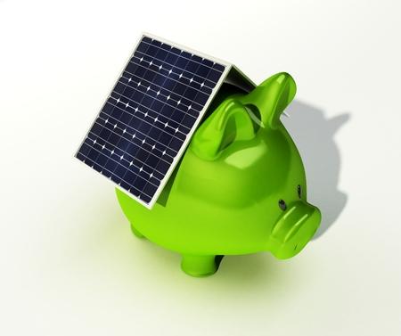 太陽電池は、白い背景で隔離ピンク貯金に 写真素材