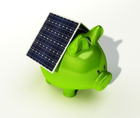 solarenergy: A solar cell is on a pink piggy bank isolated on white background