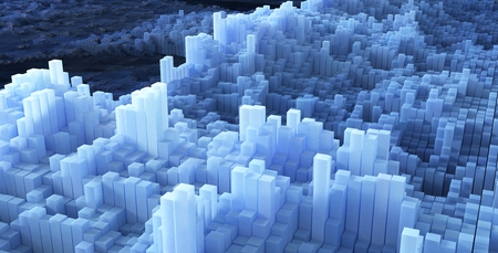 abstract image of cubes background in blue toned, 3d Rendering