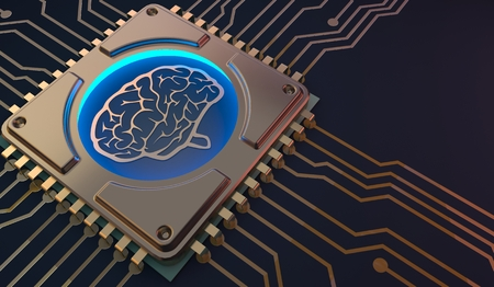 machine learning Brain symbol on circuit board 3d Rendering