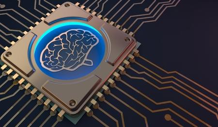 uczenie maszynowe Symbol mózgu na płytce drukowanej renderowania 3d Zdjęcie Seryjne
