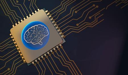 machine learning Brain symbol on circuit board 3d Rendering Фото со стока - 93756976