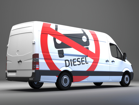 Diesel driving ban sign on transporter with german text