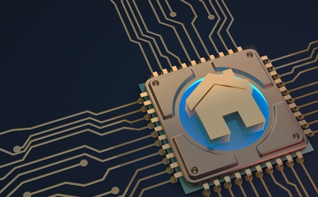 smart home symbol on circuit board 3d Rendering