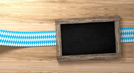 Bavarian Oktoberfest background with blue-white checkered border on rustic wooden board and blackboard, 3d rendering