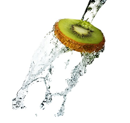 Water splash on kiwi isolated on white